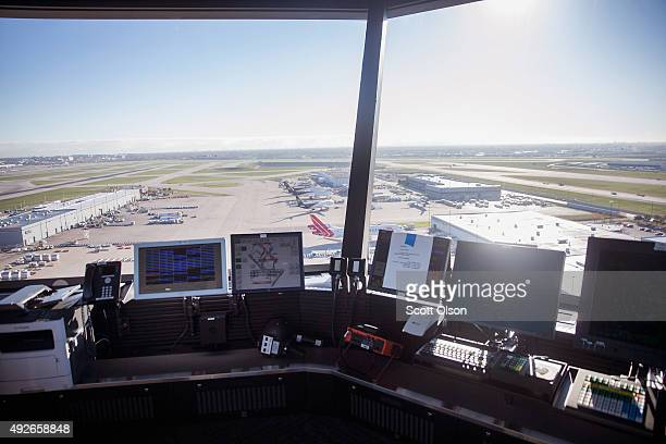 Computers sit on the counter at O'Hare's new Satellite South air traffic control tower on October 14 2015 in Chicago Illinois The 209foot tower will...