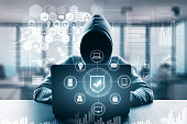 Computing and malware concept. Hacker using computer with digital business interface. Double exposure