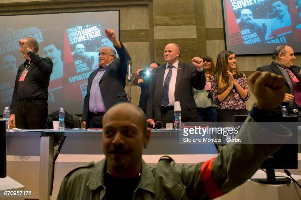 Comrades make a raised fist salute during the event International 'Long Live The Soviet Revolution' organized by the Communist Party to reaffirm the...