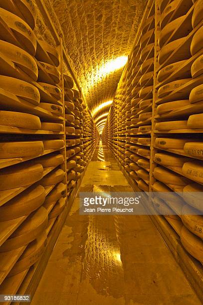 Comté cheese maturation cellar Jura France
