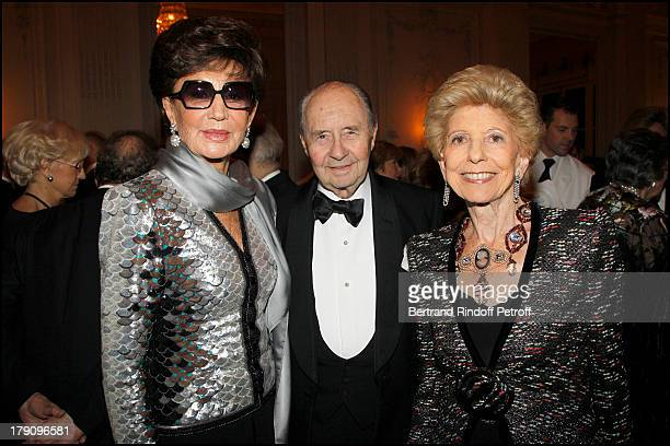 Comte and Comtesse Edouard De Ribes with Helene Carrere D'Encausse at The Traditional Christmas Dinner Held At The British Embassy In Paris