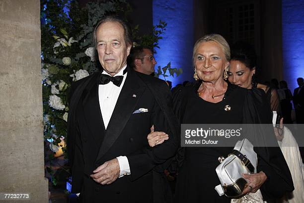 Comte de Paris Henri d'Orleans and his wife Micaela Cousino Quinones de Leon arrive at the Fondation Pour L'Enfance Ball at the Palais de Versailles...
