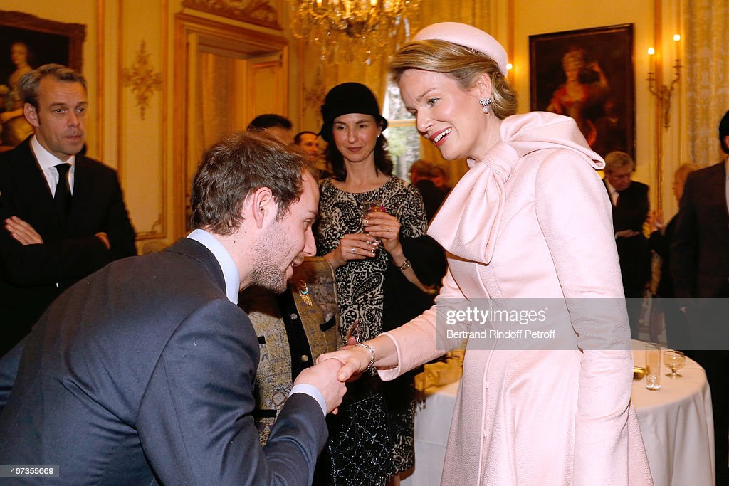 Comte Stanislas d'Aramon, Matron of honor of Queen Mathilde Of Belgium, Clotilde Boel and Queen Mathilde Of Belgium attend the King Philippe of Belgium and Queen Mathilde Of Belgium visit the Residence of the Ambassador of Belgium whyle a One Day Official Visit in Paris on February 6, 2014. Paris, France.