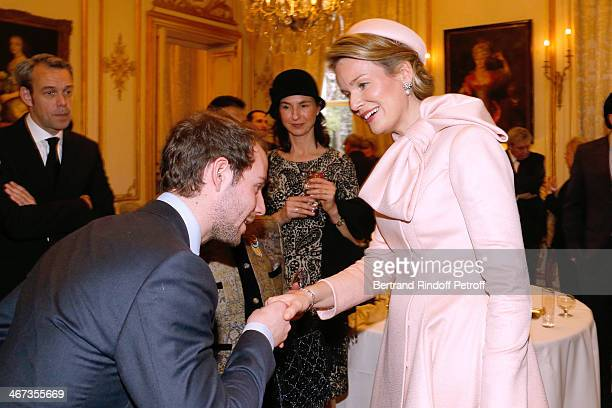 Comte Stanislas d'Aramon Matron of honor of Queen Mathilde Of Belgium Clotilde Boel and Queen Mathilde Of Belgium attend the King Philippe of Belgium...