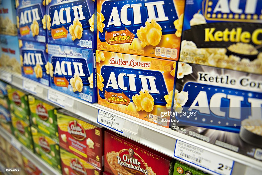 ConAgra Foods Inc. Act II brand popcorn sits on display at a supermarket in Princeton, Illinois, U.S., on Tuesday, Sept. 17, 2013. ConAgra Foods Inc., is scheduled to report quarterly earnings on Sept. 19, 2013. Photographer: Daniel Acker/Bloomberg via Getty Images