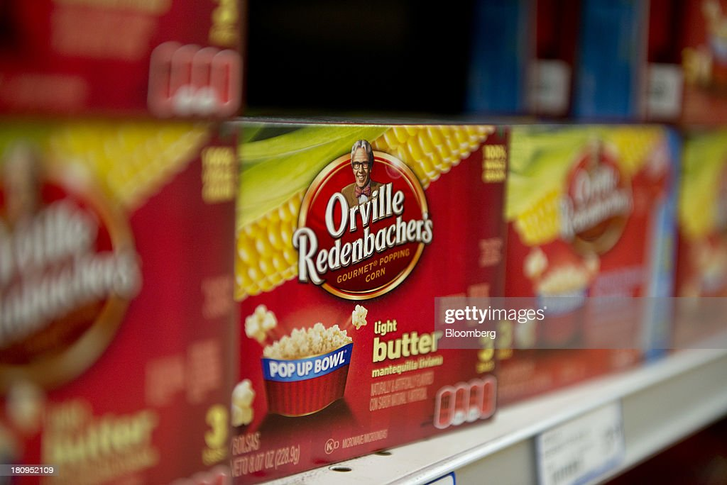 ConAgra Foods Inc. Orville Redenbacher's brand popcorn sits on display at a supermarket in Princeton, Illinois, U.S., on Tuesday, Sept. 17, 2013. ConAgra Foods Inc., is scheduled to report quarterly earnings on Sept. 19, 2013. Photographer: Daniel Acker/Bloomberg via Getty Images