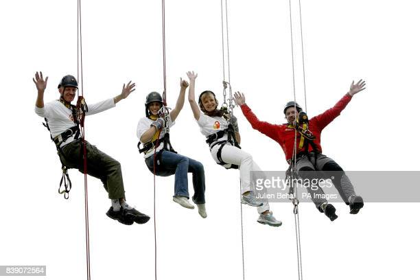 Conall Mallen Lucy Kennedy Adi Roche CEO of Chernobyl Children International and Work at Height's Mike O'Shea are seen high up on an abseil in the...