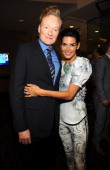 Conan O'Brien and Angie Harmon attend the TBS / TNT Upfront 2014 at The Theater at Madison Square Garden on May 14 2014 in New York City...