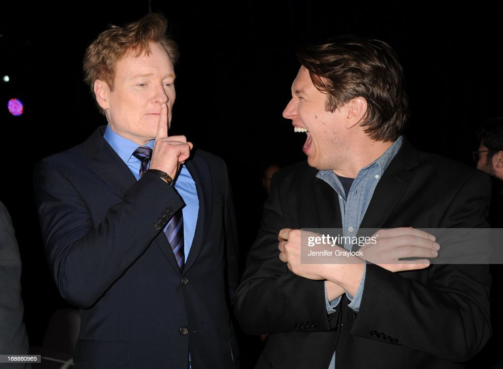 Conan O'Brien and Pete Holmes attend the 2013 TNT/TBS Upfront presentation at Hammerstein Ballroom on May 15, 2013 in New York City.