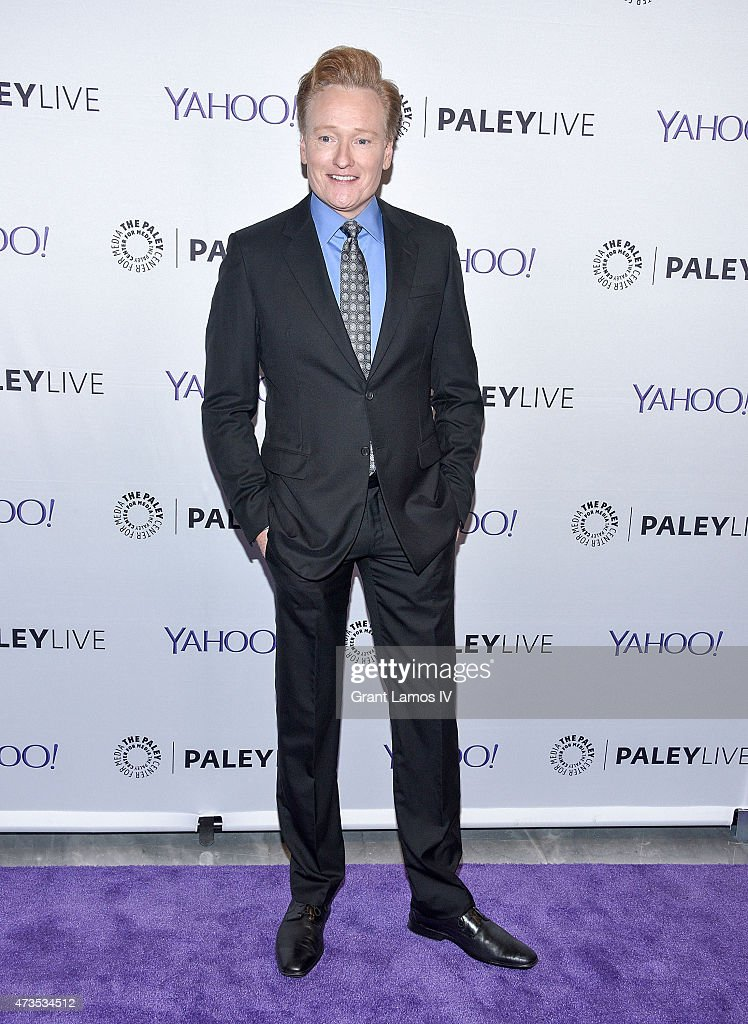 <a gi-track='captionPersonalityLinkClicked' href=/galleries/search?phrase=Conan+O%27Brien&family=editorial&specificpeople=208095 ng-click='$event.stopPropagation()'>Conan O'Brien</a> attends The Paley Center For Media Hosts A Conversation With Anderson Cooper And <a gi-track='captionPersonalityLinkClicked' href=/galleries/search?phrase=Conan+O%27Brien&family=editorial&specificpeople=208095 ng-click='$event.stopPropagation()'>Conan O'Brien</a> at Paley Center For Media on May 15, 2015 in New York City.