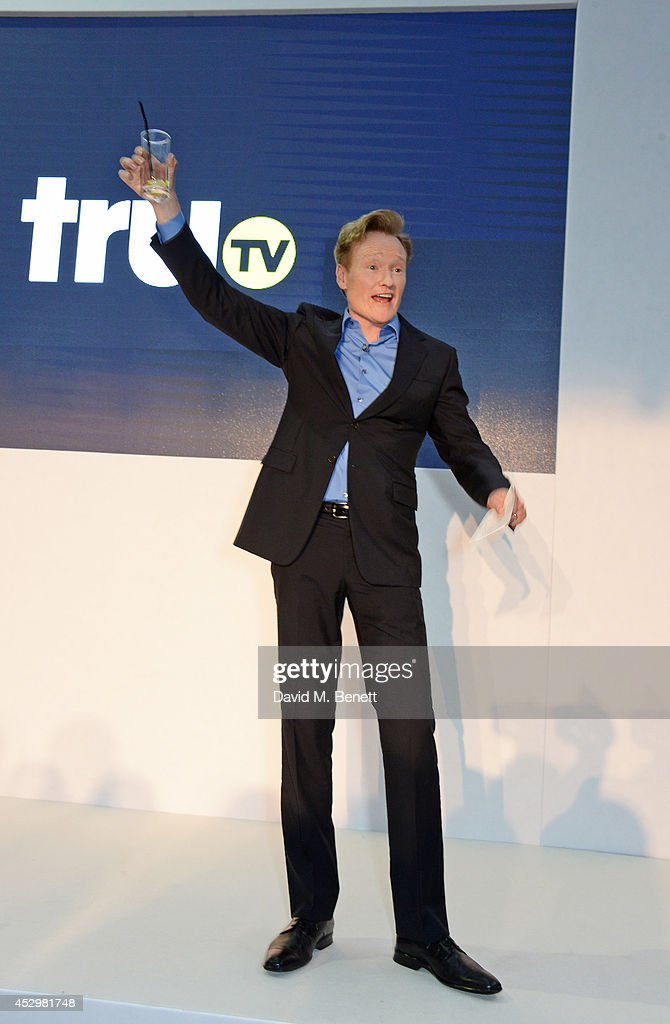 <a gi-track='captionPersonalityLinkClicked' href=/galleries/search?phrase=Conan+O%27Brien&family=editorial&specificpeople=208095 ng-click='$event.stopPropagation()'>Conan O'Brien</a> speaks at the star studded VIP launch party for truTV, a brand new larger than life TV channel launching on 4th August, at the tru-Man Brewery, on July 31, 2014 in London, England.