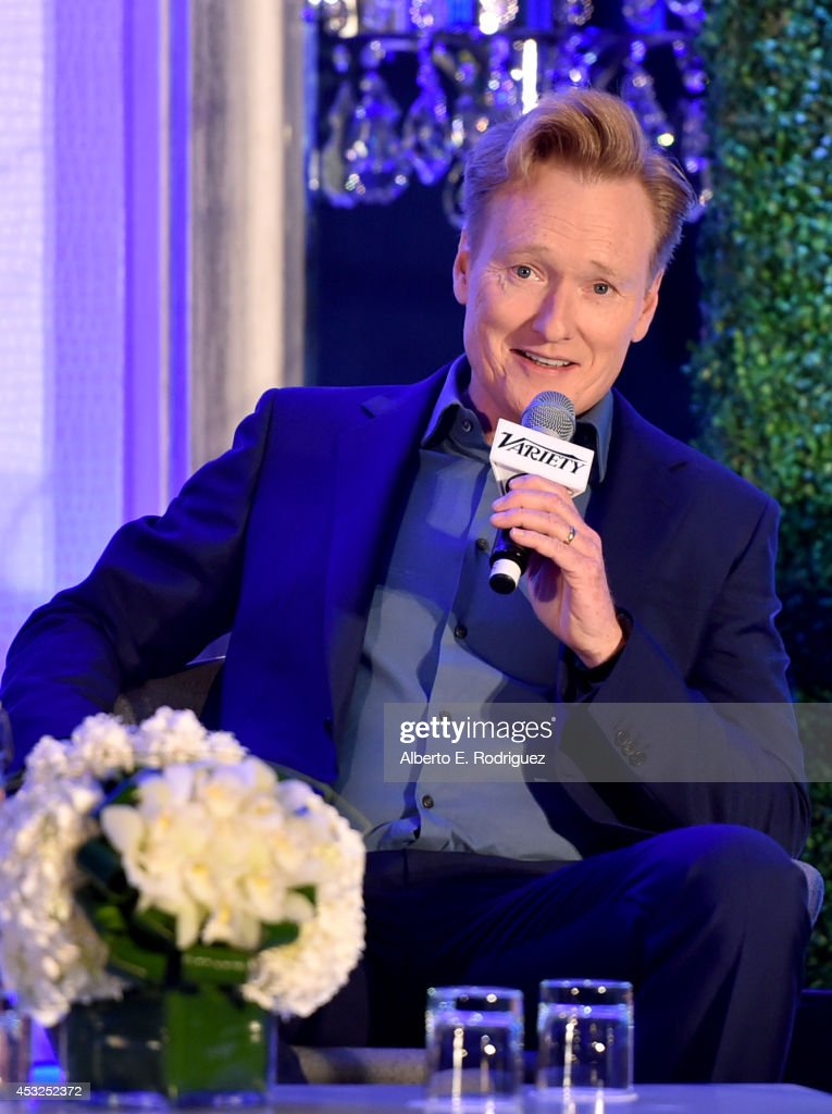 Conan O'Brien speaks onstage at the Keynote Conversation during Tune In Variety's TV Summit at Intercontinental Century City on August 6 2014 in...
