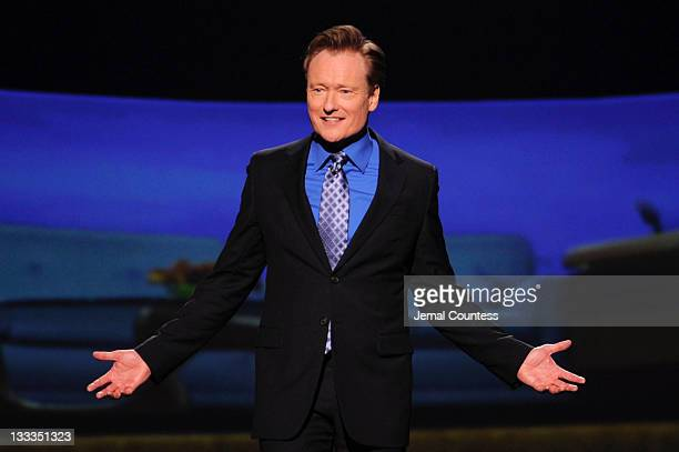 Conan O'Brien speaks onstage at the TEN Upfront 2011 at Hammerstein Ballroom on May 18 2011 in New York City 21147_006_JC_0242JPG