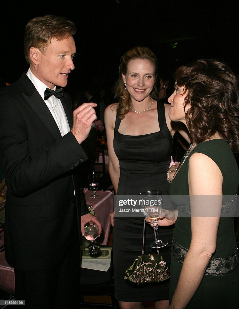 Conan O'Brien wife Liza Powell and Tina Fey during 58th Annual Primetime Emmy Awards Governors Ball at The Shrine Auditorium in Los Angeles...