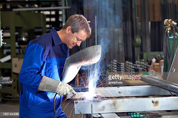 concentrated welder at work