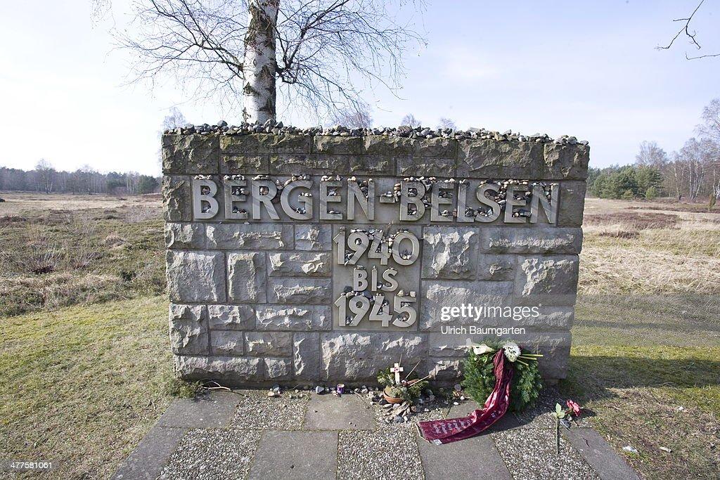 Concentration Camp Bergen-Belsen, Memorial stone with the inscripton Bergen-Belsen 1940 - 1945, on March 05, 2014 in Bergen-Belsen, Germany.