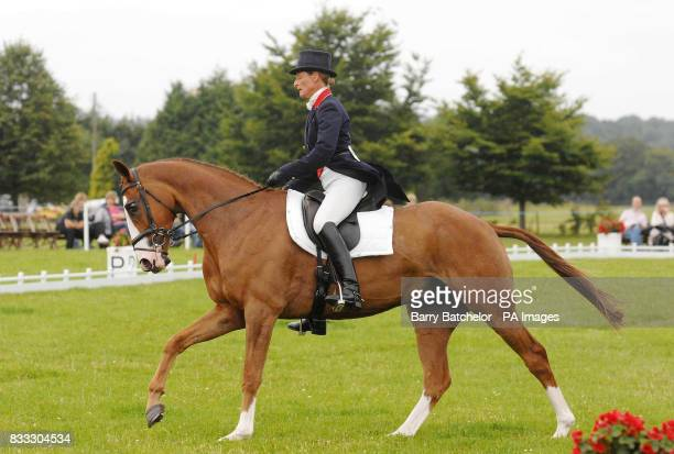 Concentration on the face of Mary King as she rides Apache Sauce in the dressage phase of The Festival of British Eventing at Gatcombe Park...