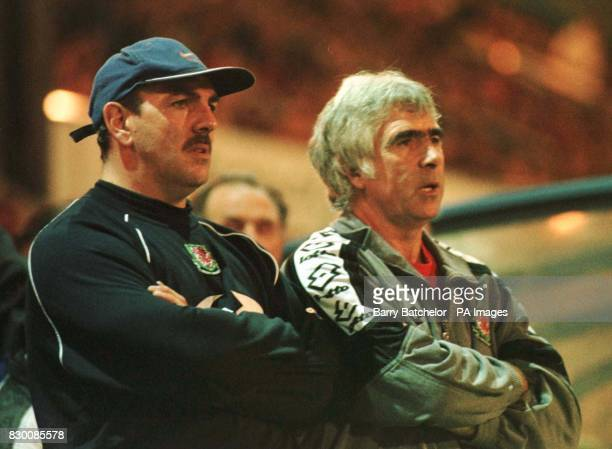 Concentration on the faces of Wales' Neville Southall and Manager Bobby Gould as they watch their team's Euro 2000 Group 1 match against Belarus at...