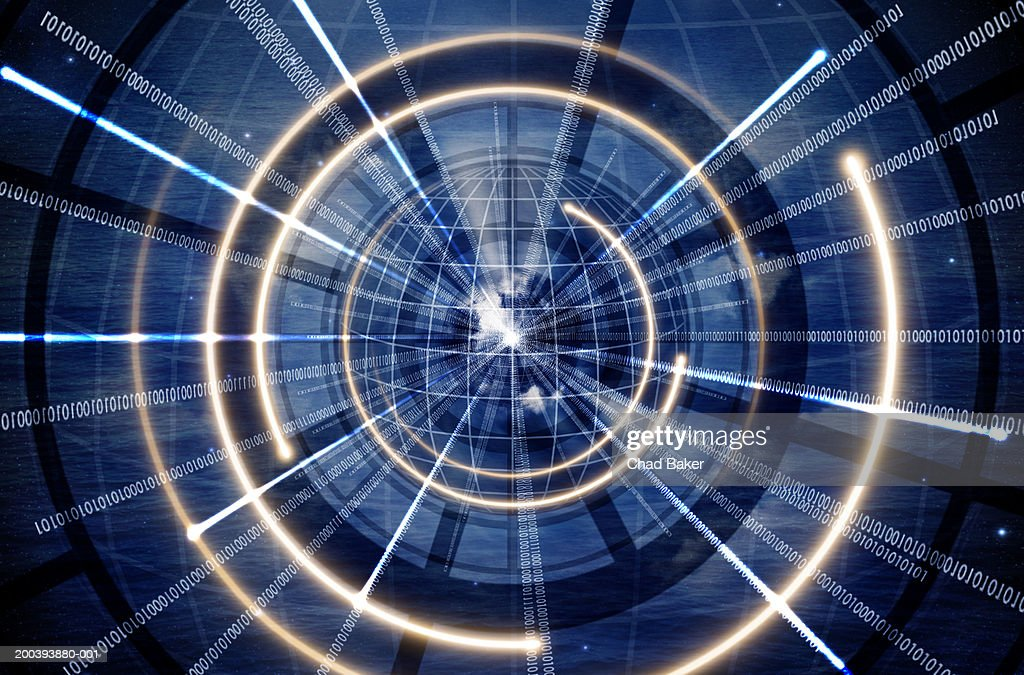 Concentric circles with binary code : Stock Photo