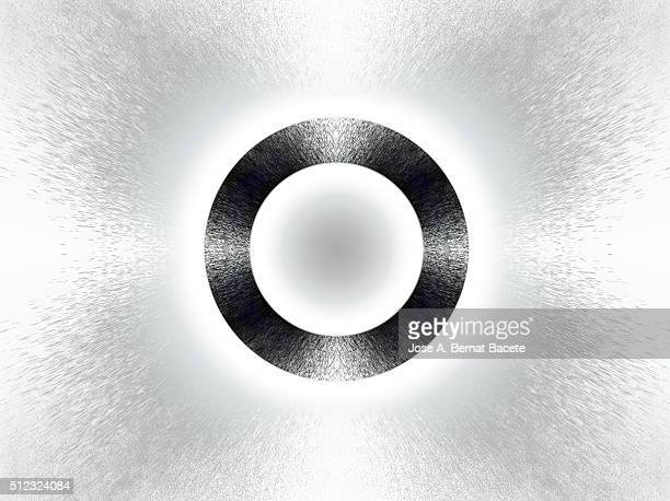 Concentric circular shapes in gray on a white background with water droplets