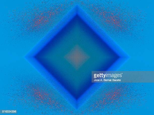 Concentric geometric forms of blue  background with water droplets