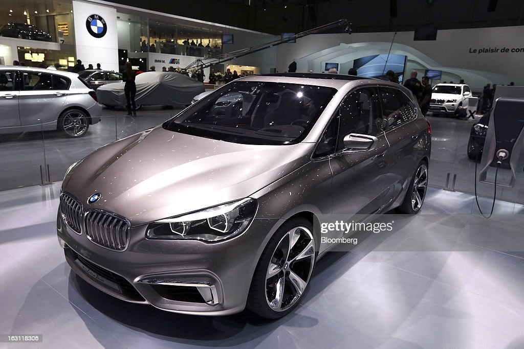 A BMW concept Active Tourer automobile, produced by Bayerische Motoren Werke AG (BMW), is displayed on the company's stand ahead of the opening day of the 83rd Geneva International Motor Show in Geneva, Switzerland, on Monday, March 4, 2013. This year's show opens to the public on Mar. 7, and is set to feature more than 100 product premiers from the world's automobile manufacturers. Photographer: Chris Ratcliffe/Bloomberg via Getty Images
