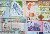 Concept: Arab spring. Muammar Gaddafi on Libya 50 dinar (2008) banknote close up