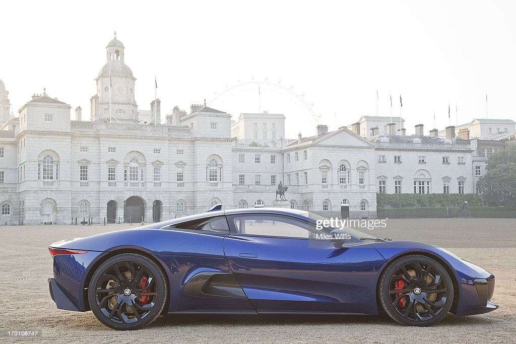 Concept car CX75 parks in Horse Guard Parade during the Jaguar Land Rover Heritage Drive ahead of the Coronation Festival on July 11 2012 in London...