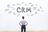 CRM concept on white background, Customer Relationship Management