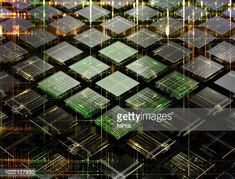 Concept of a fututistic quantum computer made of small cells : Stock Photo