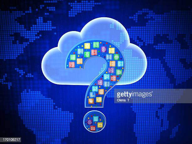 Concept of choosing cloud computing application. Questing mark.