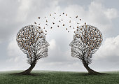 Concept of communication and communicating a message between two head shaped trees with birds perched and flying to each other as a metaphor for teamwork and business or personal relationship with 3D
