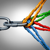 Concept of connection as a connected group symbol with different ropes tied and linked together pulling on a metal chain as an unbreakable link as a community trust and faith metaphor.