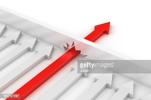 Concept of Don't stop with red arrow breaking the boundary