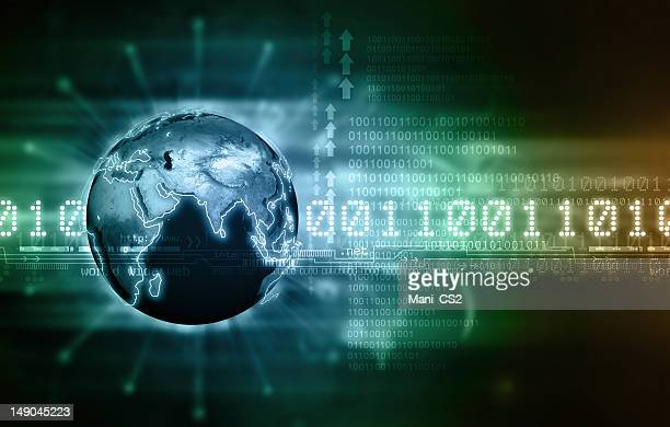 Concept of global communication via binary code