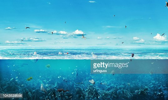 concept of global pollution. The sea full of garbage on the background of nature. Save the planet. : Stock Photo