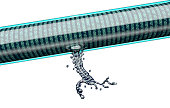 concept of leaky software, data pouring out of pipe.3d illustration