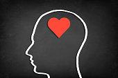 Heart shape in human head. Concept of love.
