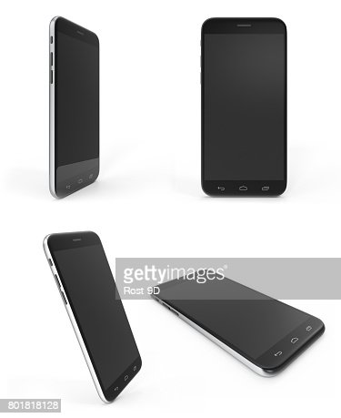 Concept of modern phones with empty screens, realistic black mobile templates on white background, 3D Rendering : Stock Photo