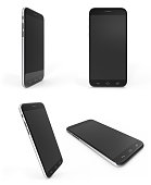 Concept of modern phones with empty screens, realistic black mobile templates on white background. 3D Rendering