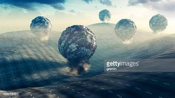 Konzept der auf überfüllten Staus und Luftverschmutzung