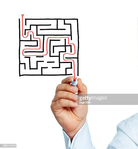 Concept of solution by walking through a labyrinth