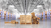 Concept of warehouse. The cardboard boxes in the big warehouse on blurred background. 3d illustration