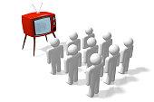 3D cartoon TV-set and people - gretat for topics like watchinb TV, television, mass media, brain washing etc.