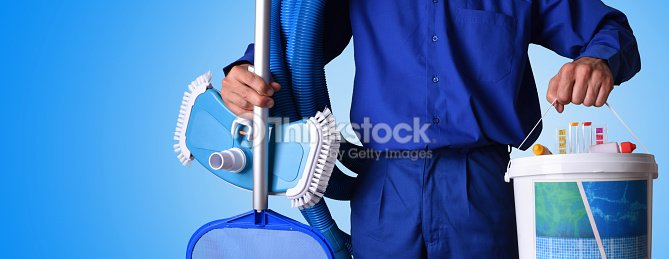 Swimming Pool Service Worker : Concept swimming pool maintenance worker with blue