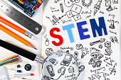 STEM education. Science Technology Engineering Mathematics. STEM concept with drawing background. Education background.STEM education. Science Technology Engineering Mathematics. STEM concept with dra