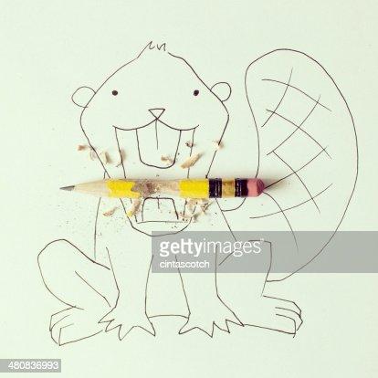 概念ビーヴァー食べるペンシル