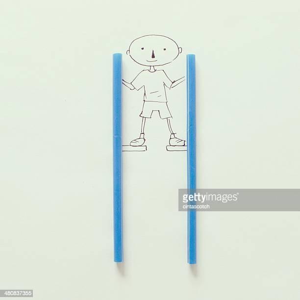 イラストレーションの支柱の上の少年