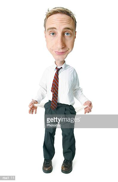 conceptual caricature of a caucasian man in a shirt and tie as he turns his pockets inside out to show that he has no money