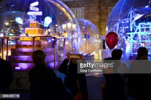 Conceptual Christmas Bethlehem at Saint Jaume's Square in Barcelona, Catalonia-Spain.